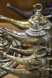Turkey, Istanbul, Grand Bazaar, turkish brass tea pots poster