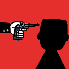 Suicide man with pistol vector cartoon sketch silhouette