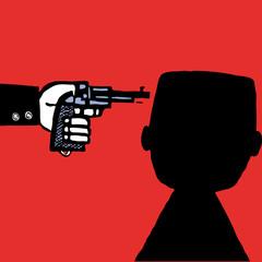 Suicide man with pistol vector cartoon sketch silhouette