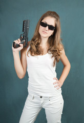 young woman  handgun