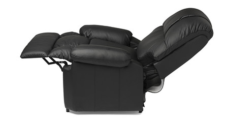 Black leather armchair, extended.
