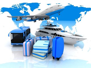 types of transport aircraft and suitcases