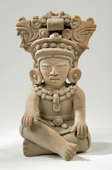 Isolated Ancient Mayan Clay Sculpture