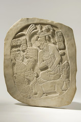 Ancient Mayan Bas-Relief Stele Isolated