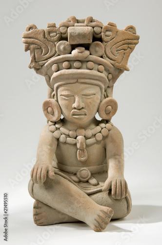 Leinwandbild Motiv Isolated Ancient Mayan Clay Sculpture