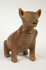 Ancient Precolumbian Clay Dog Sculpture Isolated