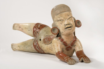 Olmec Adorned Clay Doll Isolated
