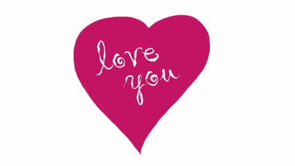 I Love You. Hand-drawing words (font flourishes).