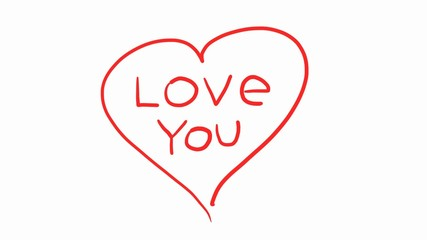 I Love You. Hand-drawing words on heart shape background