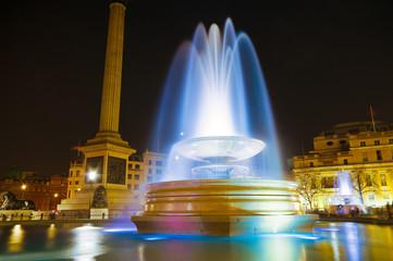 Trafalgar Square Fountain at Night