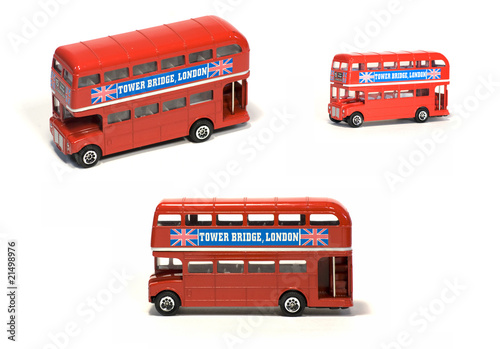 Deurstickers Londen rode bus Double decker scale model isolated on white