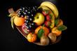 Vassoio di frutta su sfondo nero