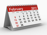 2011 year calendar. February. Isolated 3D image poster