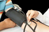 doctor measures pressure in patient poster