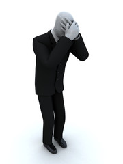 businessman cries having shut the face with the hands