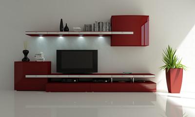 interno 3d mobile tv rosso