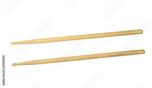 Two drumsticks over white with clipping path - 21509580