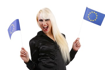 young woman with flags of European Union (white background)