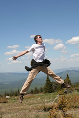young man jumps