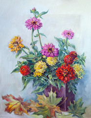 original art work by oil. Flowers