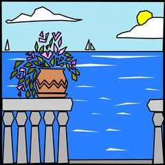 quadro astratto vettoriale con paesaggio marino