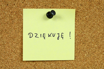 Polish language - dziekuje means thank you