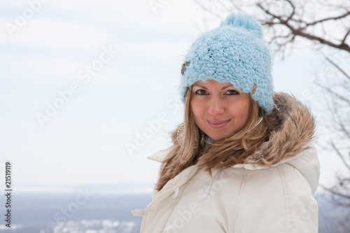 Young woman relaxing at ski resort