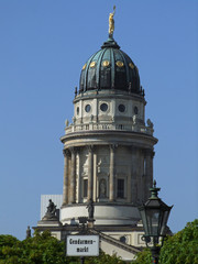Domed tower of Franzoesischer Dom on Gendarmenmarkt, Berlin.