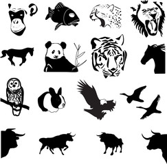 collection of wild animals vector silhouettes