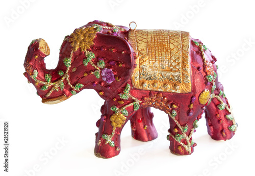 Red Elephant Ornament on White