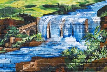 Graffiti waterfall background