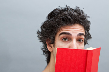 College student reading an interesting book