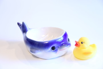 Rubber Ducky and Whale Soap Dish