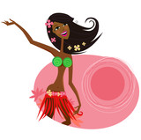 Hawaii hula girl dancer. Vector Illustration.