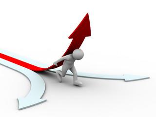 man climb red arrow. Isolated 3D image