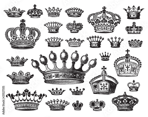 set of antique crown engravigs (vector) - 21527515