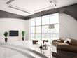 Wohnzimmer mit braun sofa 3d