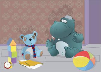 Hippopotamus and toys