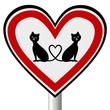 Verkehrsschild in Herzform - Katzen