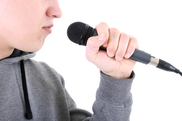 Rapper with microphone