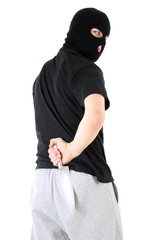 Gangster in mask with knife