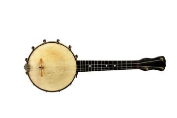 Old Vintage Banjo -Isolated on White Background