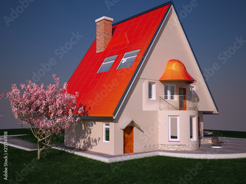 Modern cottage on a background of green grass