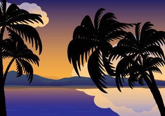 Palm trees over the water