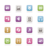 Media and household  equipment icons - vector icon set poster