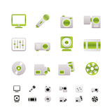 Media equipment icons - vector icon set - 2 colors included poster