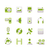 Media and household  equipment icons poster