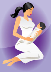 mother with child - vector illustration