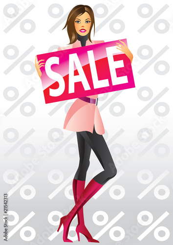 fashion shopping girls with board sale