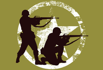 Vector silhouette of two soldiers with rifles